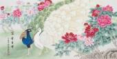 河南美协刘志高四尺横幅工笔孔雀《富贵吉祥》