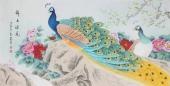河南美协刘志高四尺横幅工笔孔雀《锦上添花》