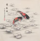 河南美协刘志高四尺斗方工笔双鱼图《双龙图》