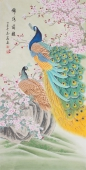 【已售】河南美协刘志高四尺竖幅工笔孔雀《锦绣前程》