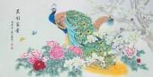 河南美协刘志高四尺横幅工笔孔雀《花开富贵》
