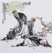 江苏省美协会员李傅宇四尺斗方人物画《听琴图》