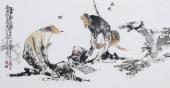 江苏省美协会员李傅宇三尺横幅人物画《高士对弈图》