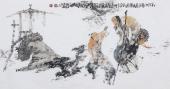 江苏省美协会员李傅宇三尺横幅人物画《松下问童子》