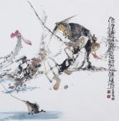 江苏省美协会员李傅宇四尺斗方人物画《渔乐图》
