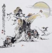 江苏省美协会员李傅宇四尺斗方人物画《醉仙图》