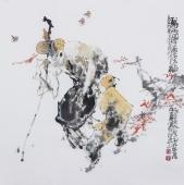 江苏省美协会员李傅宇四尺斗方人物画《归乡图》