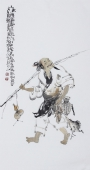 江苏省美协会员李傅宇三尺竖幅人物画《渔乐图》