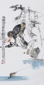 江苏省美协会员李傅宇三尺竖幅人物画《钓趣图》