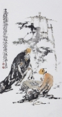 江苏省美协会员李傅宇三尺竖幅人物画《对弈图》