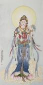 山东佛像名家董艳菊四尺竖幅观音《大慈大悲观自在菩萨》