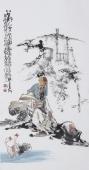 江苏省美协会员李傅宇三尺竖幅人物画《对酒赏鹅图》