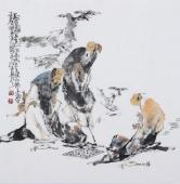 江苏省美协会员李傅宇四尺斗方人物画《对弈图》