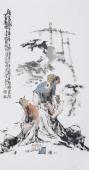 江苏省美协会员李傅宇三尺竖幅人物画《读书图》