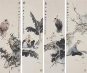 著名人物画家石慵四条屏
