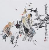 江苏省美协会员李傅宇四尺斗方人物画《松下问童子》