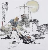 江苏省美协会员李傅宇四尺斗方人物画《听松图》