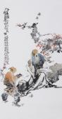 江苏省美协会员李傅宇三尺竖幅人物画《品茶图》