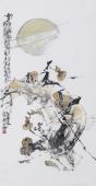 江苏省美协会员李傅宇三尺竖幅人物画《载酒图》