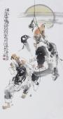 江苏省美协会员李傅宇三尺竖幅人物画《满载而归图》