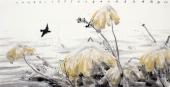 国家一级美术师李成林四尺横幅冰雪画《此君倚雪待春风》