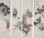 著名人物画家石慵四条屏人物画