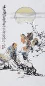 江苏省美协会员李傅宇三尺竖幅人物画《太白醉酒图》