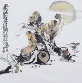 江苏省美协会员李傅宇四尺斗方人物画《畅饮图》