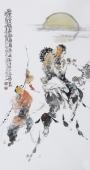 江苏省美协会员李傅宇三尺竖幅人物画《踏雪赏海图》