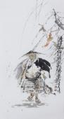 江苏省美协会员李傅宇三尺竖幅人物画《年年有余》