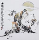 江苏省美协会员李傅宇四尺斗方人物画《太白醉酒图》