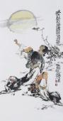 江苏省美协会员李傅宇三尺竖幅人物画《太白邀月图》