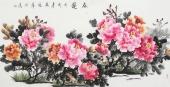 蔲萍四尺横幅写意国画牡丹《春艳》