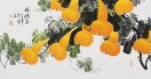 花鸟画名家黄艺三尺横幅葫芦《福禄图》