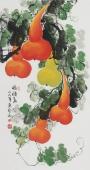 广西美协黄艺三尺竖幅葫芦《福禄图》