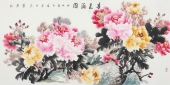 河南美协四尺横幅写意牡丹画《春色满园》