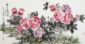 河南美协名家寇萍四尺横幅牡丹《春色满园》