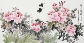 河南美协寇萍四尺横幅写意国画牡丹《春色满园》