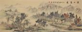 广西美协黎启师写意山水画小六尺《溪山高远》