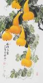 花鸟名家黄艺三尺竖幅规国画葫芦《福禄满堂》
