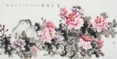 河南美协蔲萍四尺横幅写意牡丹《春色满园》