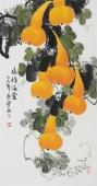 花鸟名家黄艺 三尺国画葫芦《福禄满堂》