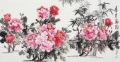 花鸟名家蔲萍四尺横幅写意牡丹画《春色满园》