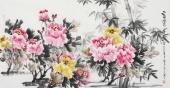 花鸟名家蔲萍四尺横幅写意牡丹《富贵平安》