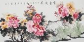 寇萍四尺横幅写意国画牡丹《富贵迎春》