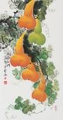 广西美协黄艺三尺竖幅葫芦《五福临门》