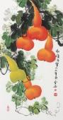 广西美协黄艺三尺竖幅写意葫芦《福禄满堂》