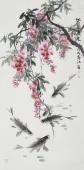 一级美术师李春江四尺竖幅紫藤鱼《紫气东来》