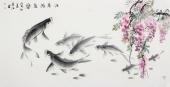 一级美术师李春江四尺横幅《春江游鱼乐》