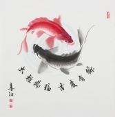 国画名家李春江四尺斗方太极鱼《太极赐福 吉庆有余》